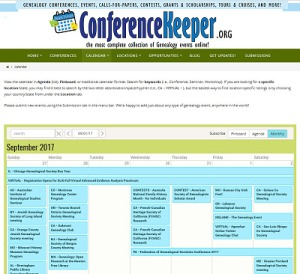 ConferenceKeeper for genealogy events conferences seminars grants scholarships.