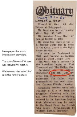 West Howard William Sr 1905-1968 - Death - Obituary - Error with son as Jim - should be Howard Jr
