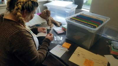 Organization - Genealogy File Setup - Lindsey West and cat - photo by Lorelle VanFossen.