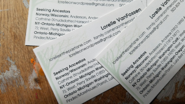 Family History - Personal Business Card with Family Branches and Brickwall - Lorelle VanFossen