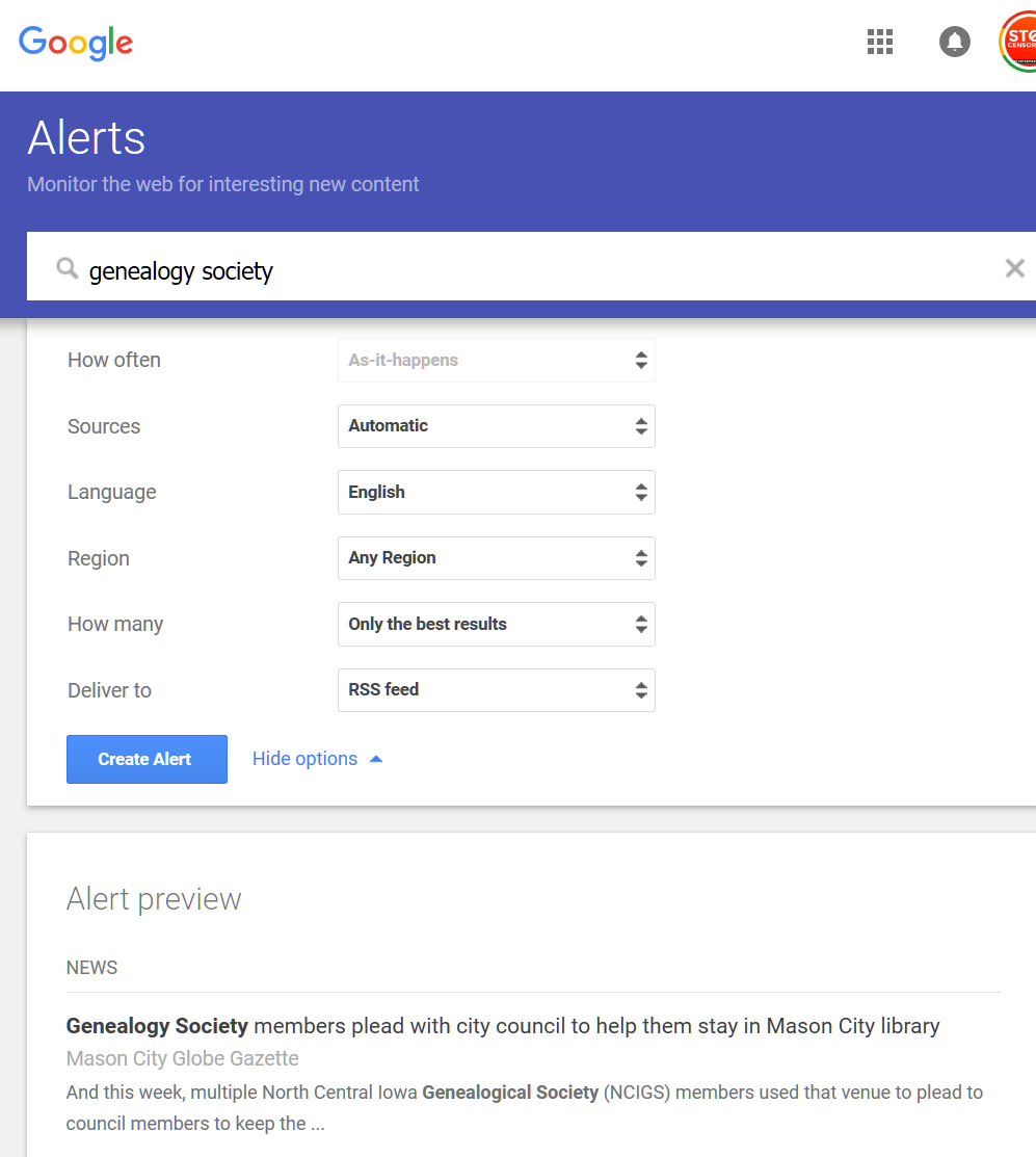 Google Alerts - Alert customization options - Lorelle in the Past Lane.