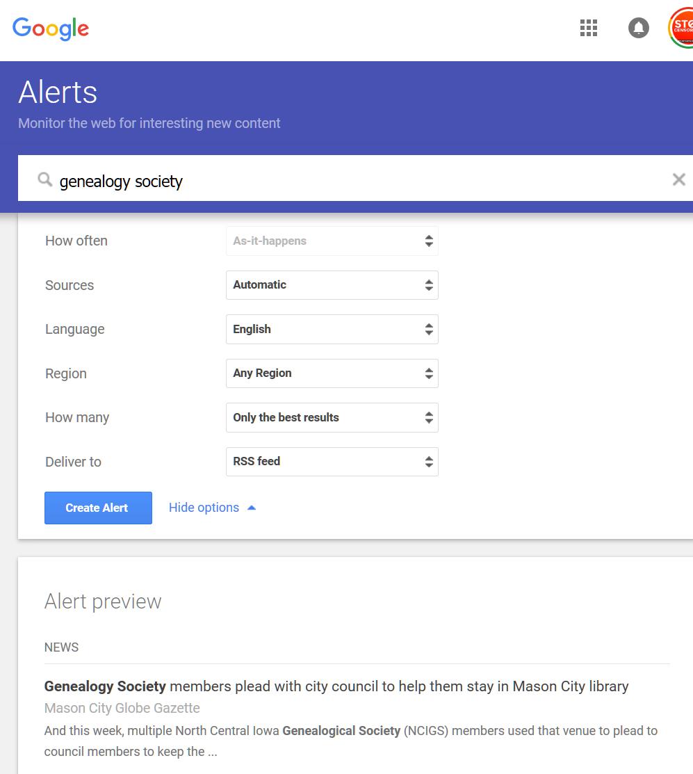 Google Alerts - Alert customization options - Lorelle in the Past Lane.
