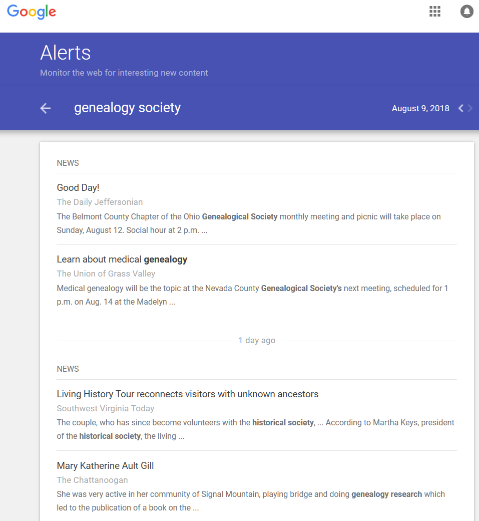 Google Alerts - Google Alerts results for Genealogy Society - Lorelle in the Past Lane.