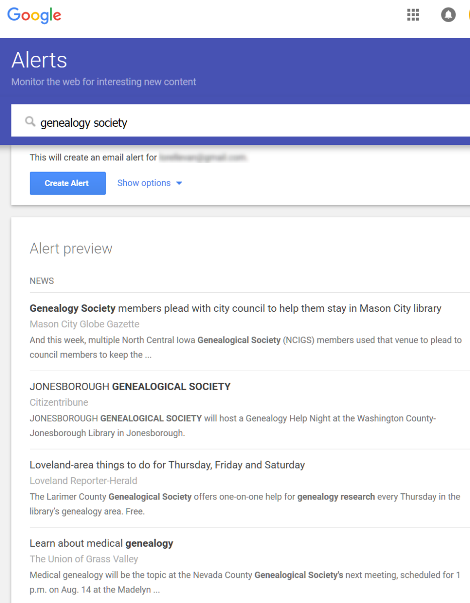 Google Alerts - Search Results to Create an Alert for Genealogy Society - Lorelle in the Past Lane.