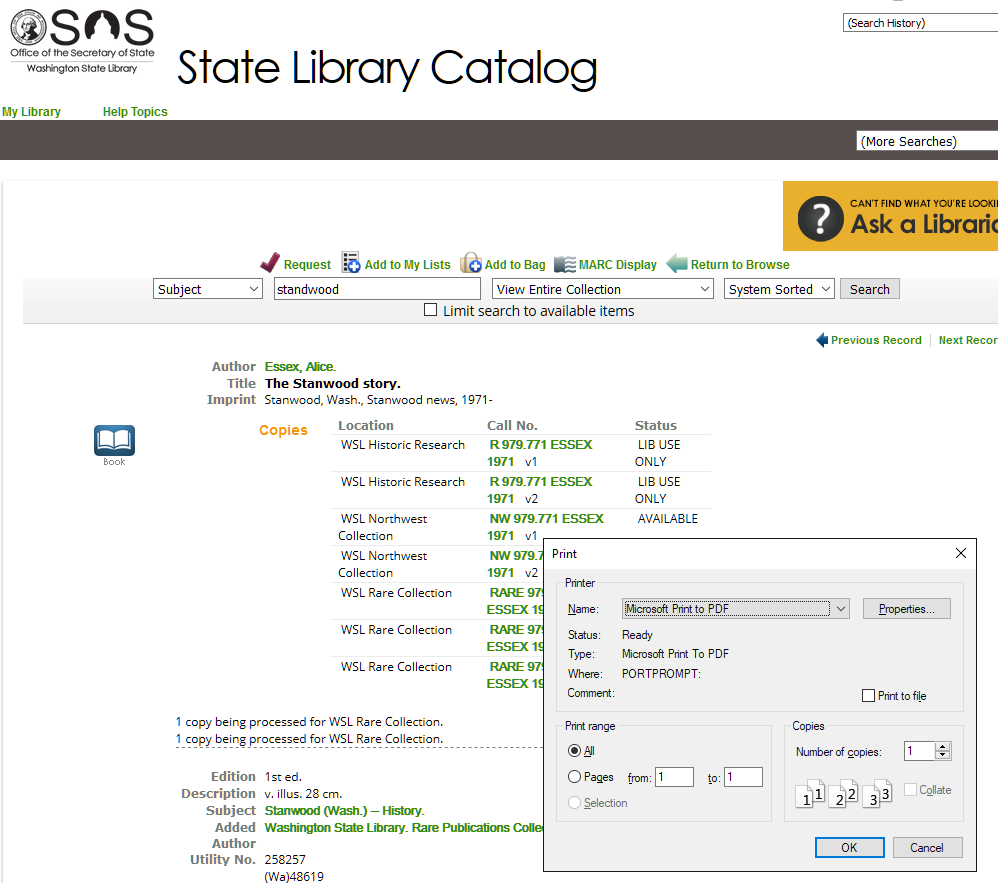 Print to PDF - Web page with record for reference from Washington State Library Catalog.