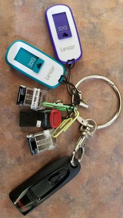 Thumb and flash drives on key chain - Lorelle in the Past Lane
