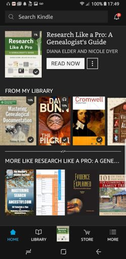 Books - Ebooks - Kindle Library on Smartphone - photo by Lorelle VanFossen