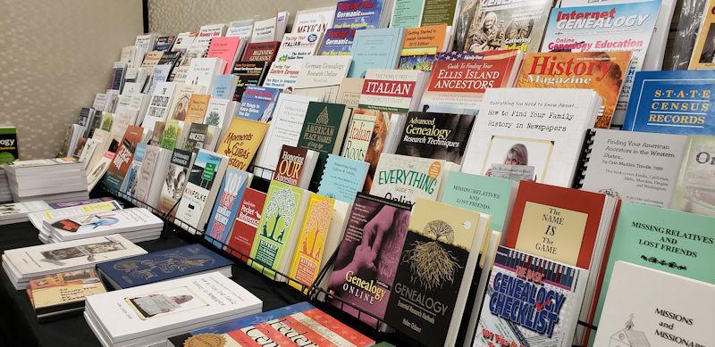 Books - Genealogy Books for Sale on Rack - photo by Lorelle VanFossen