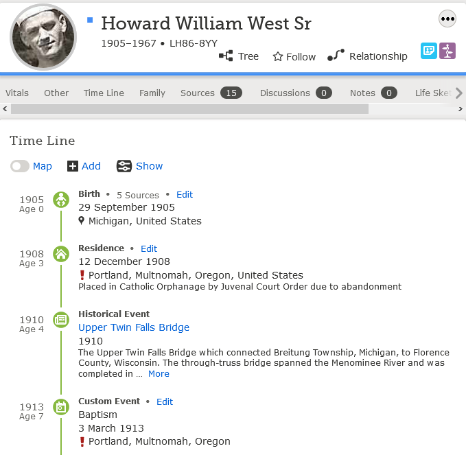 Howard West Sr FamilySearch Timeline feature