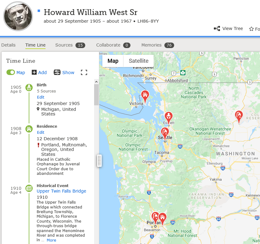 Howard West Sr FamilySearch Timeline feature