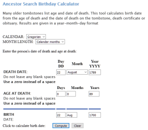 Ancestor Search - Estimating birth and death dates
