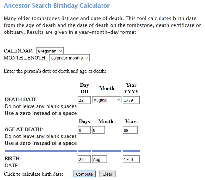 Ancestor Search - Estimating birth and death dates