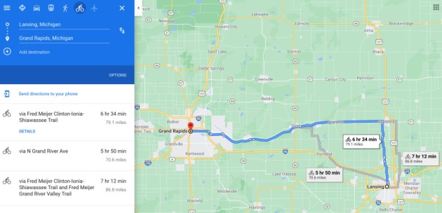 Google Maps tracing the journey and travel time.