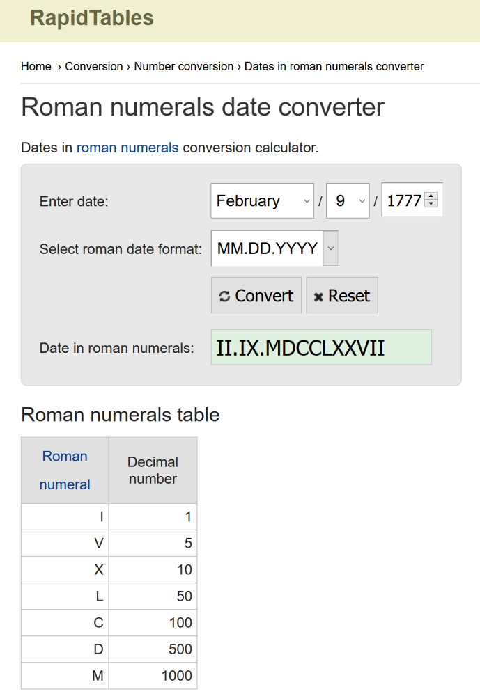 Online Calculator for converting to and from Roman Numerals.