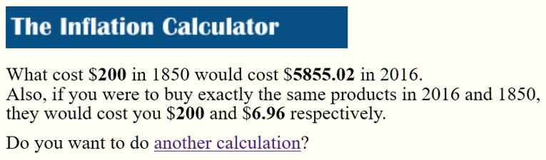 Westegg Inflation Calculator